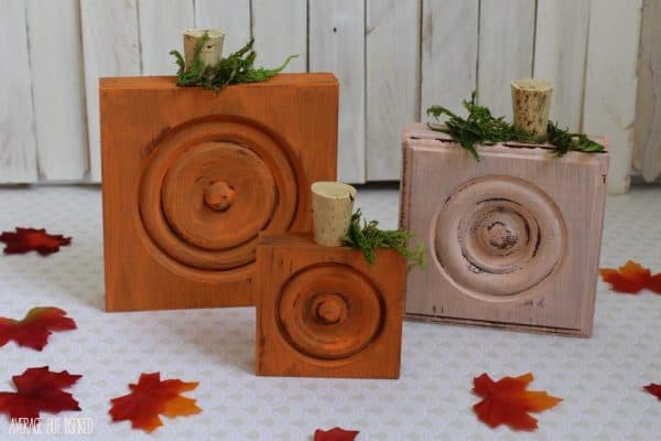wooden pumpkins made from corner block trim