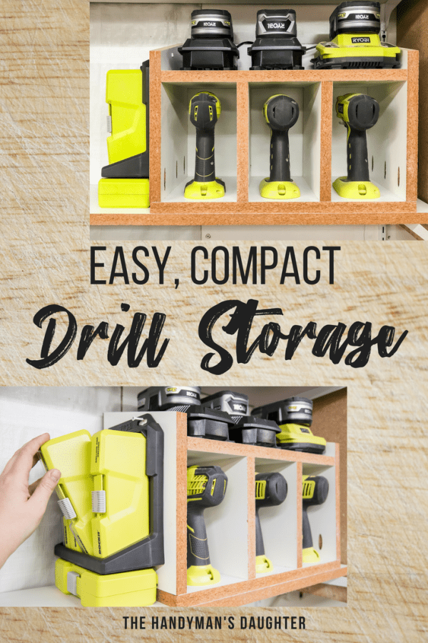 easy, compact cordless drill storage rack