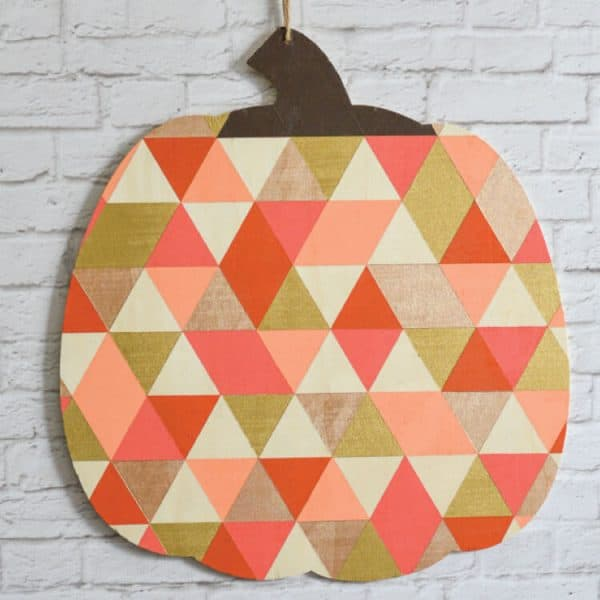 wooden pumpkin cut out with geometric pattern