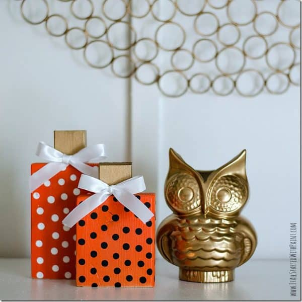 orange polka dot wooden pumpkins with gold owl