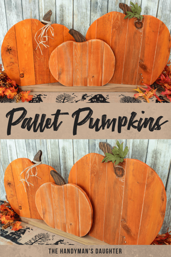 two different views of pallet pumpkin fall decoration
