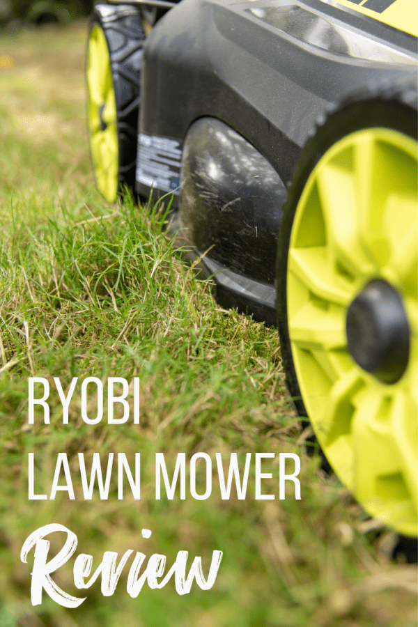 close up of Ryobi self propelled electric lawn mower