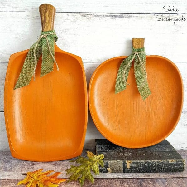 wooden tray pumpkins
