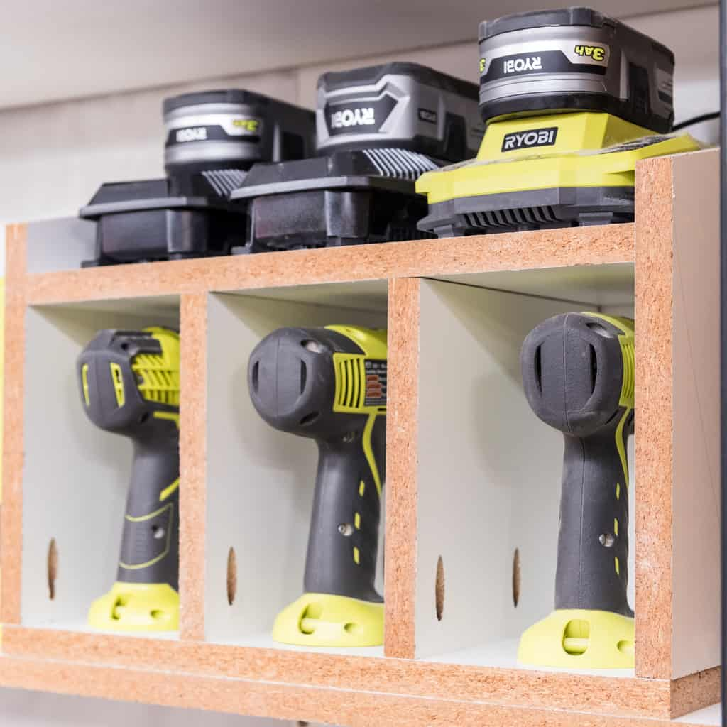 cordless drill storage rack with battery charger shelf