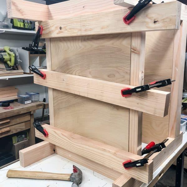 inset plywood shelves set up