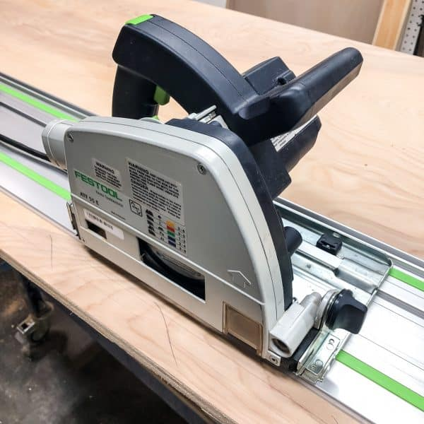 track saw used to cut large sheets of plywood