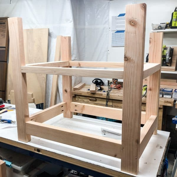 desk frame with two shelves