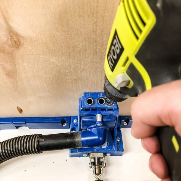 "drilling pocket holes in 3/4"" plywood shelves"