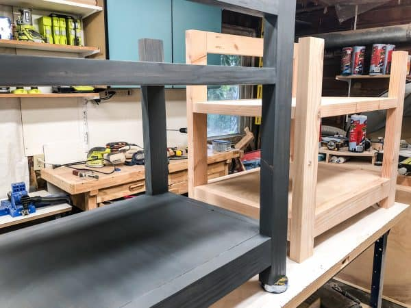 grey wood stain - stained and unstained desk shelves