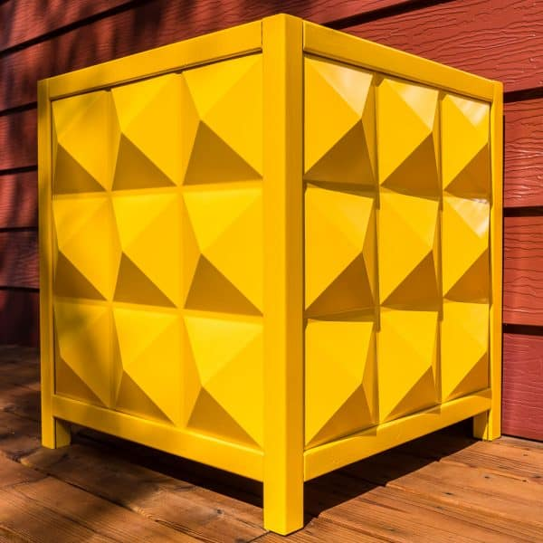 bright yellow DIY planter box