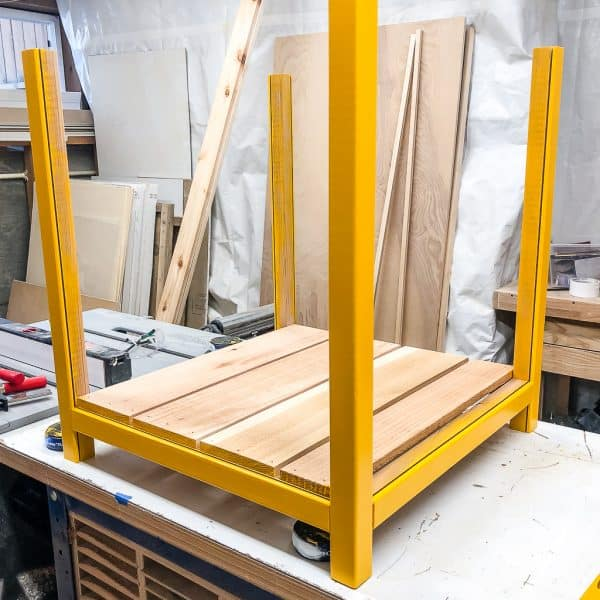 modern planter box frame painted yellow