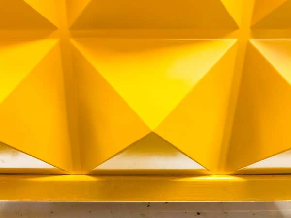 yellow PVC panel in modern planter box frame