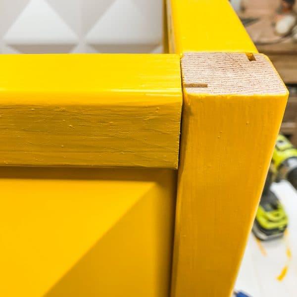 corner of modern outdoor planter box frame