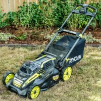 Ryobi cordless push lawn mower with self-propelling feature
