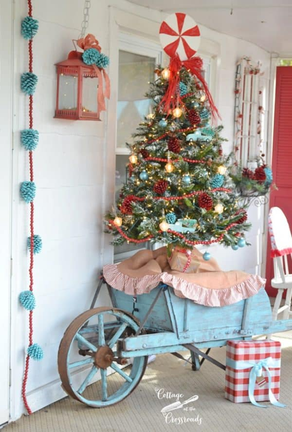 red and blue Christmas porch