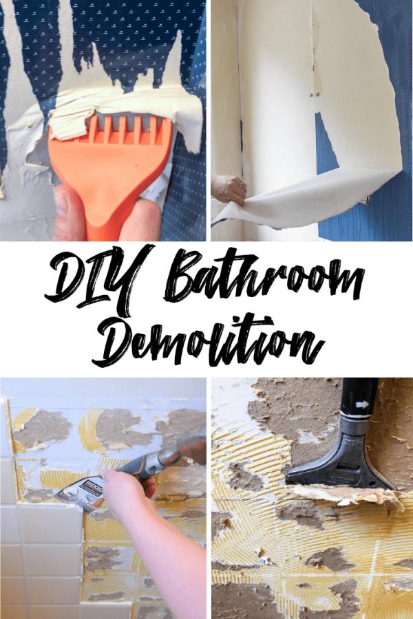 collage of four DIY bathroom demolition pictures
