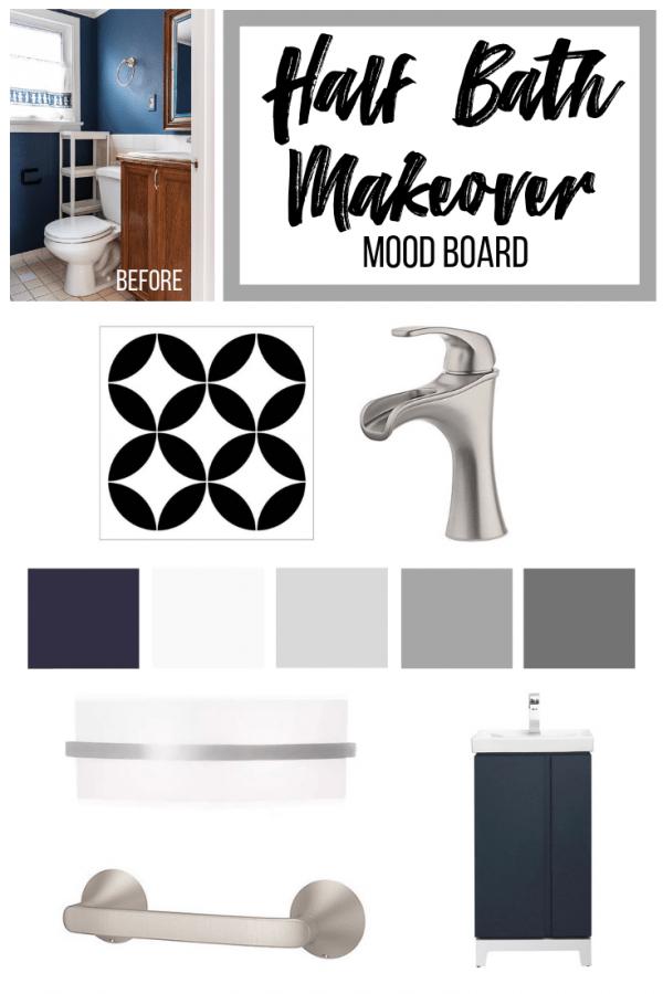 mood board for half bath makeover with small bathroom design ideas
