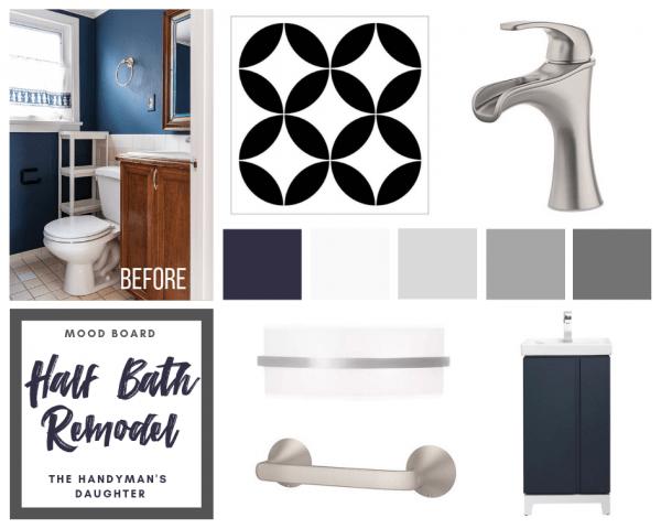 mood board with small bathroom design ideas