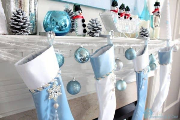 blue Christmas mantel decorations