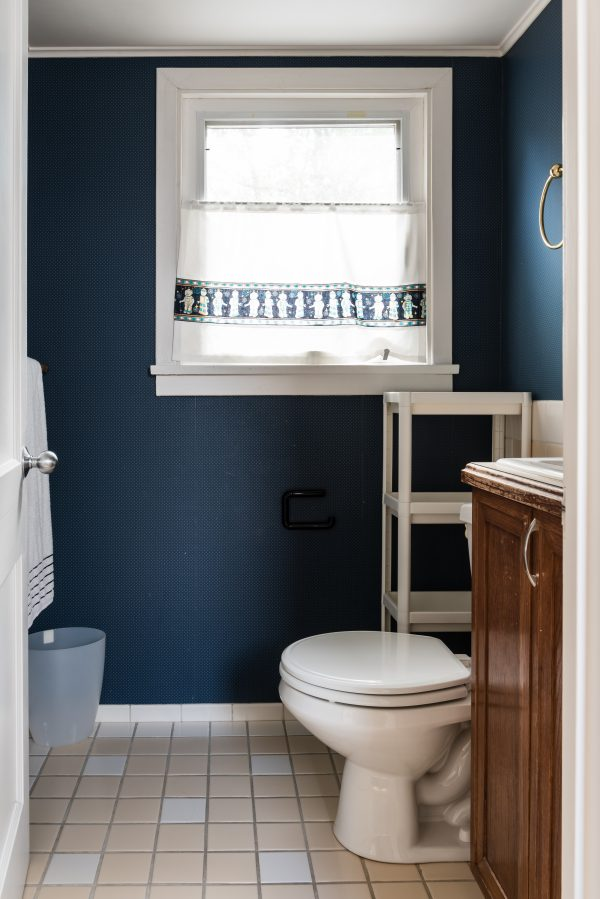 small bathroom in an upstairs dormer