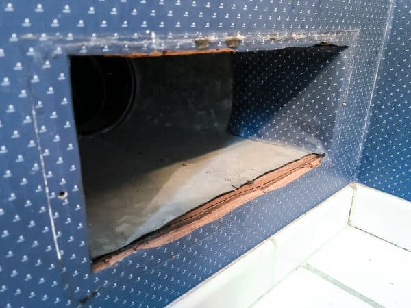 wallpaper folded into heating duct