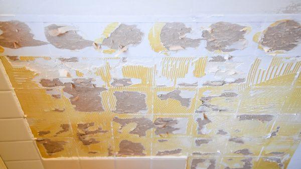 tile adhesive stuck to wall