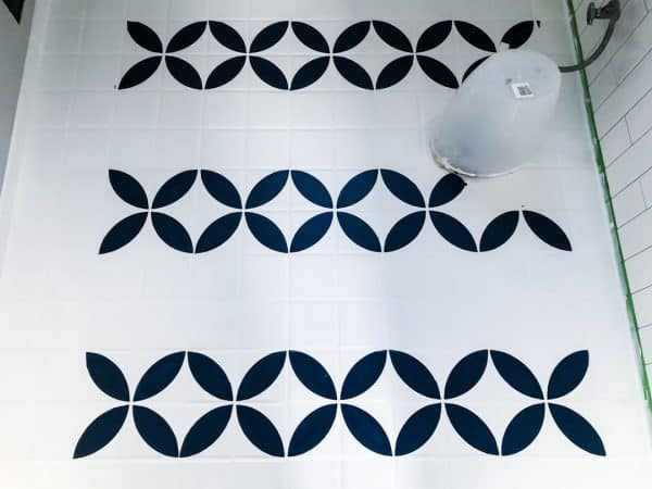 tile floor stencil applied in alternate rows
