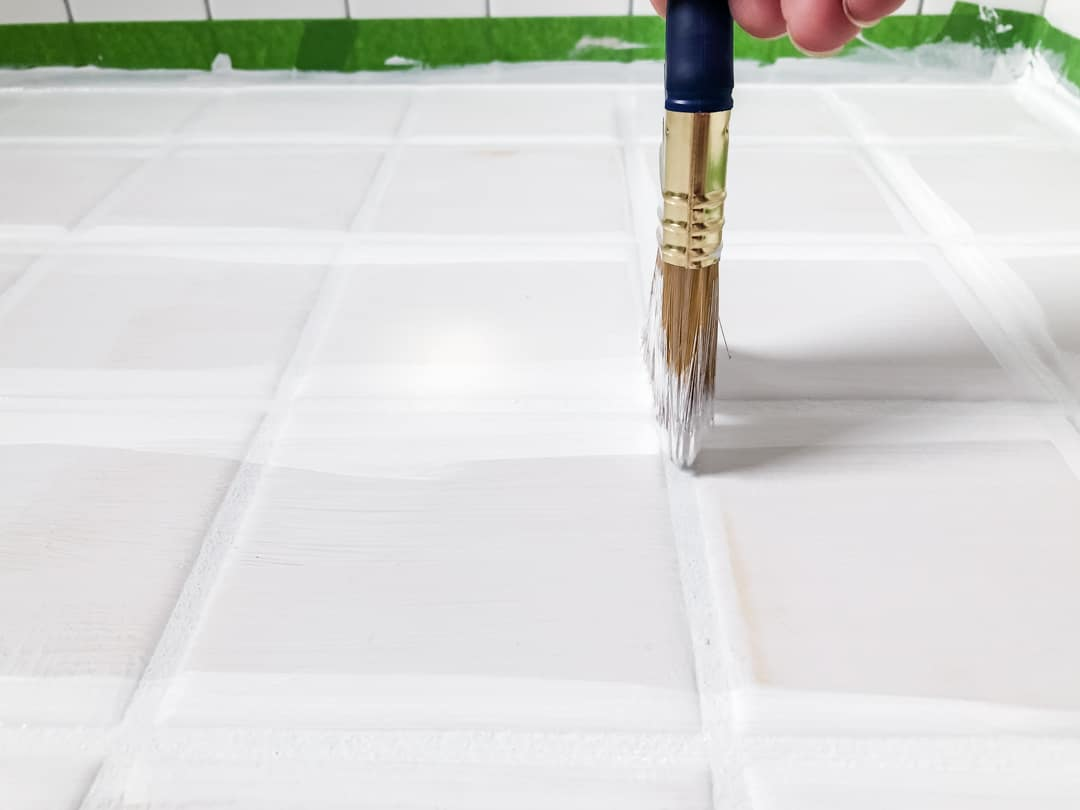painting tile floor grout lines