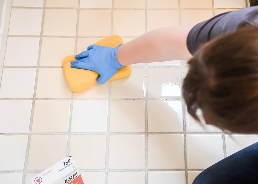 scrubbing tile floor with TSP before painting