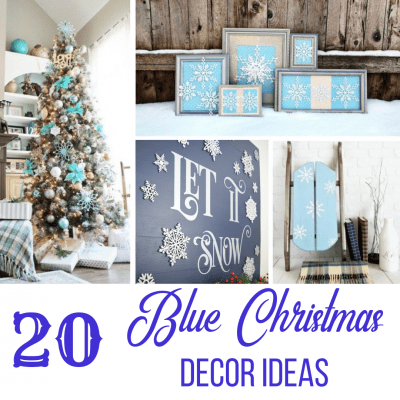 collage of 20 blue Christmas decor ideas
