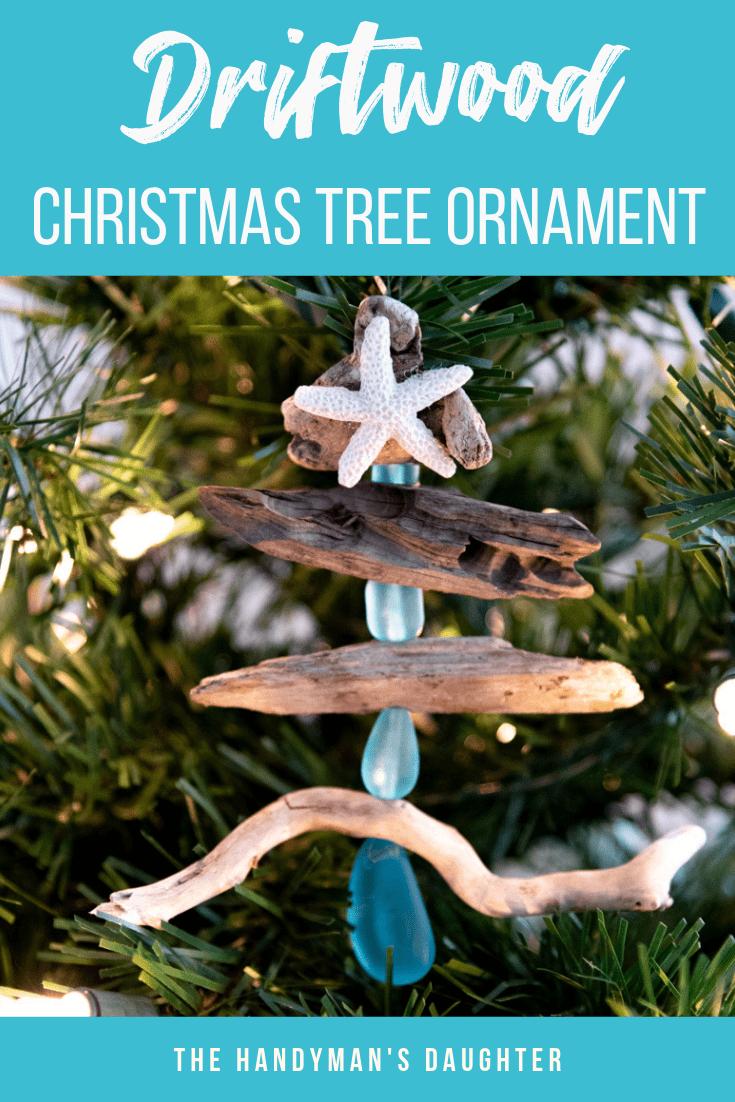DIY driftwood Christmas tree ornament