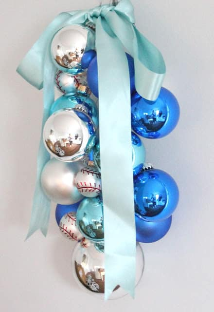 blue Christmas ornament swag
