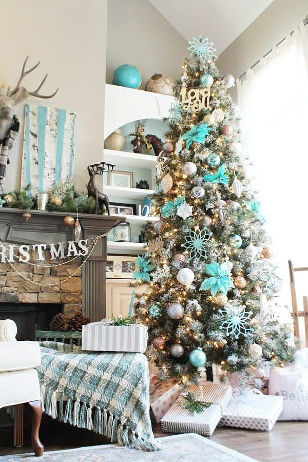 blue Christmas decorations and ornaments