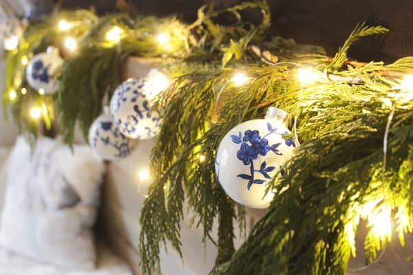 blue Christmas ornaments on