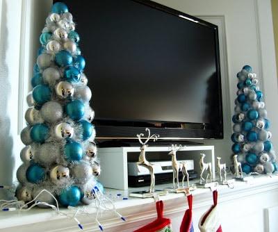 blue Christmas decor - ornament trees