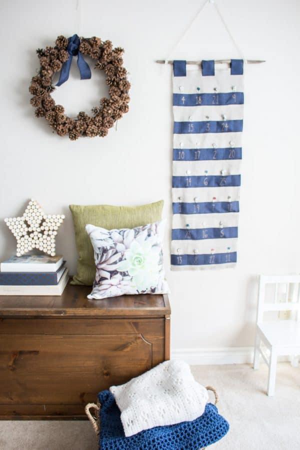 blue and white advent calendar