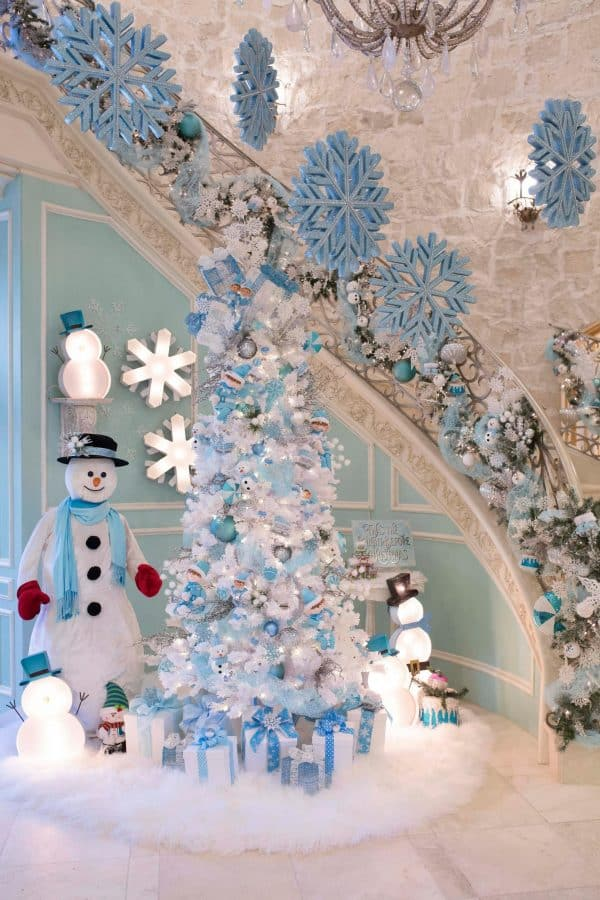 blue christmas decor staircase and foyer