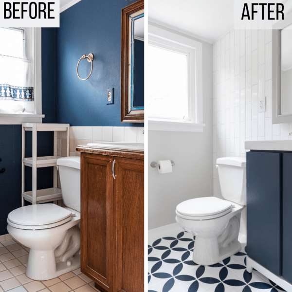 DIY half bath remodel before and after