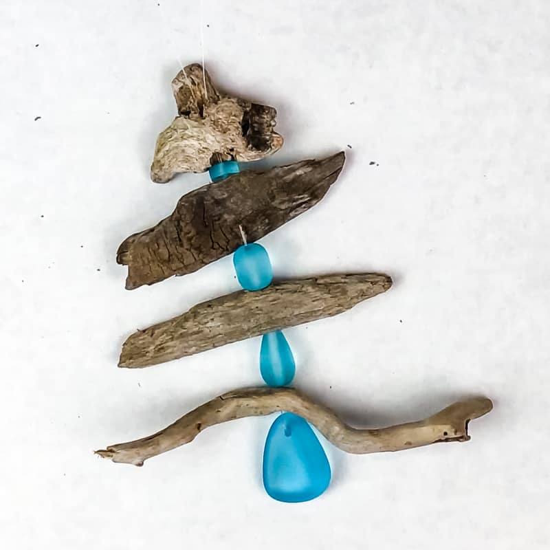 driftwood Christmas tree ornament with beach glass beads