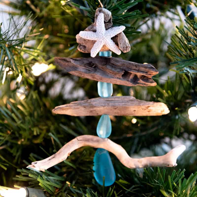 driftwood Christmas tree shaped ornament