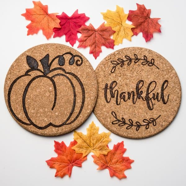 fall themed wood burning stencils on cork