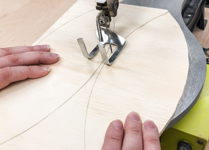 cutting shapes for wood wall art with a scroll saw
