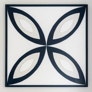 DIY wood wall art with bold geometric pattern