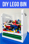 DIY Lego bin with clear sides, built in handles and baseplate storage slots