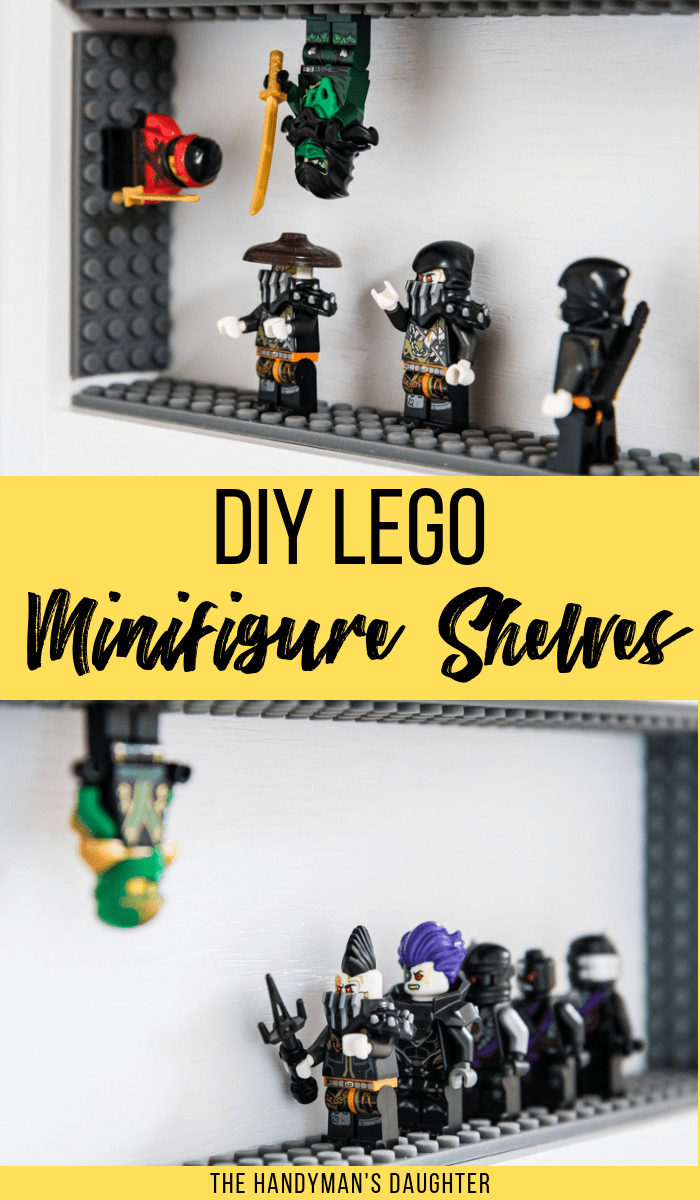 Lego Ninjago minifigures on DIY Lego minifigure display case