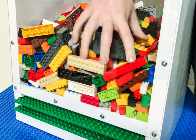DIY Lego bin with clear sides make it easy to find that special Lego piece