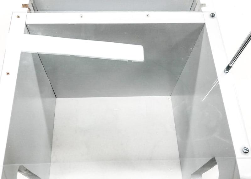 screwing Plexiglass to sides of the DIY Lego bin