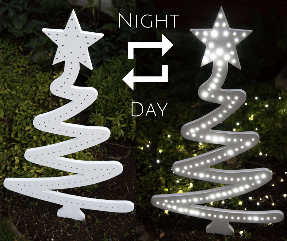 outdoor Christmas tree yard decoration in both day and night