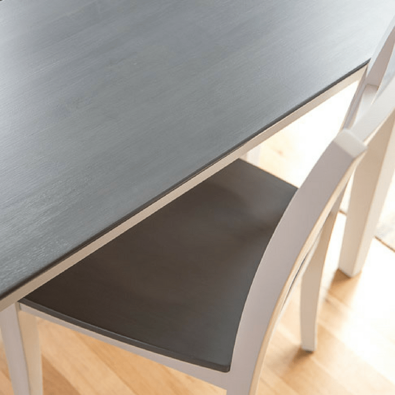 The PERFECT grey wood stain on dining table and chair