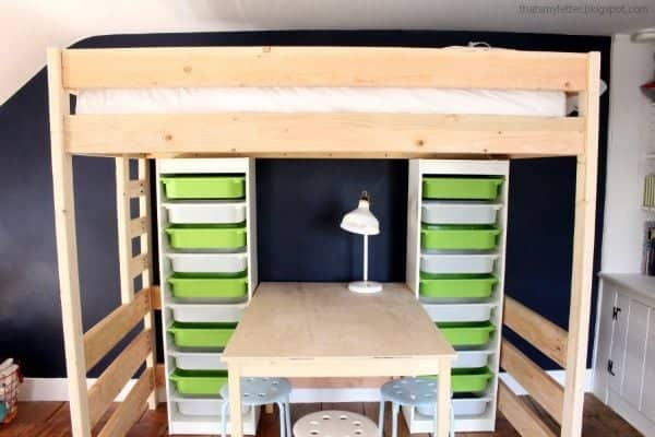 DIY loft bed with Lego table and storage underneath